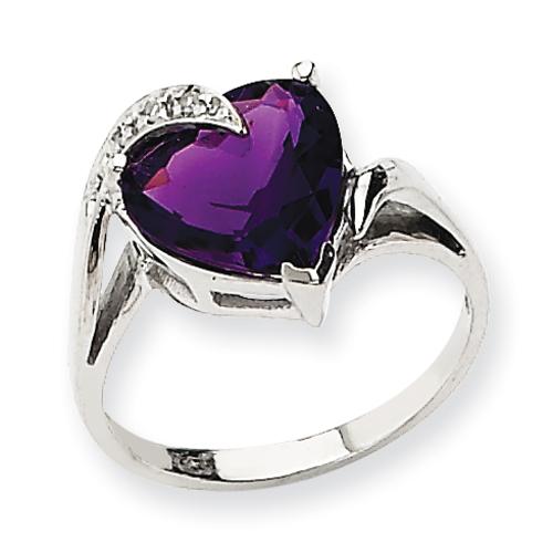 14K White Gold Amethyst & Diamond Ring. Price: $373.44