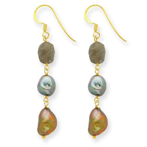 Sterling Silver & Vermeil Labradolite/Olivine/Slvr.Grn. Cult. Pearl Earrin. Price: $22.80