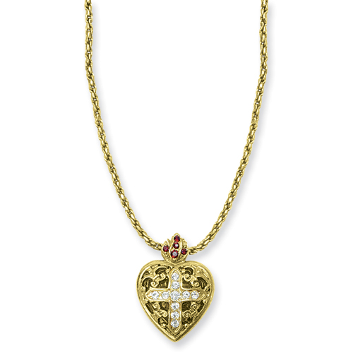 Gold-tone Sacred Heart Cross Locket 18in Necklace. Price: $34.56