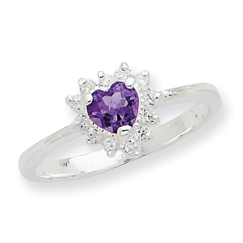 Sterling Silver Amethyst and CZ Heart Ring. Price: $43.53
