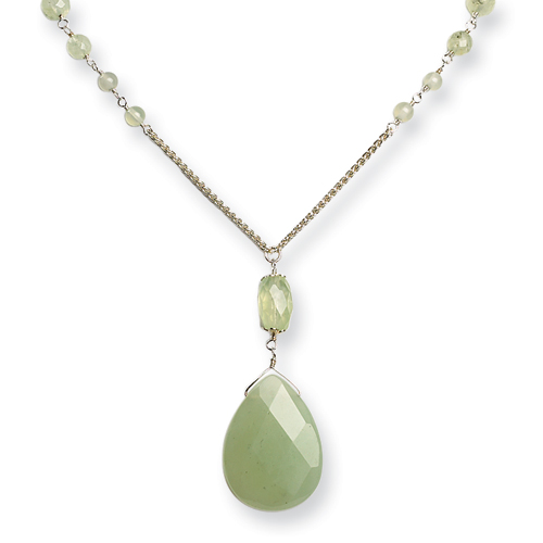 Sterling Silver Prehnite/Green Rutilated Quartz Necklace chain. Price: $49.46