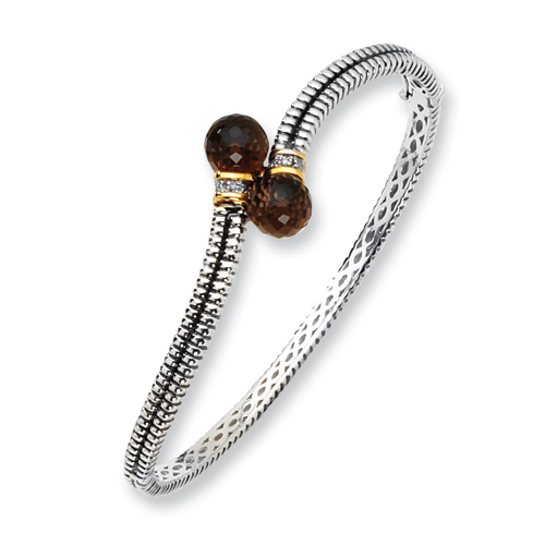Sterling Silver/14ky Diamond and Smokey Quartz Bangle Bracelet. Price: $181.80