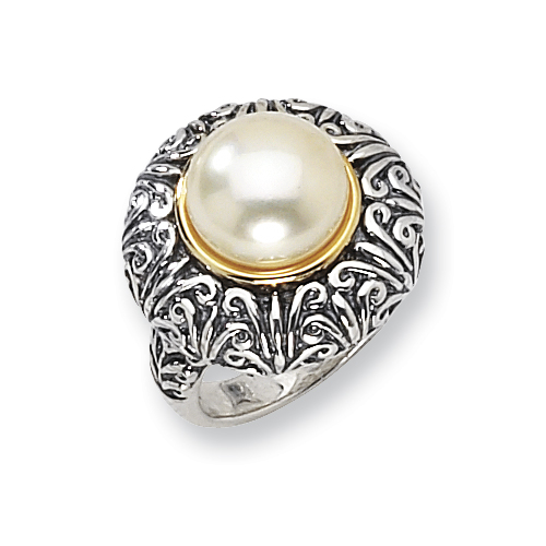 Sterling Silver/14ky 12mm White FW Cultured Pearl Ring. Price: $183.70