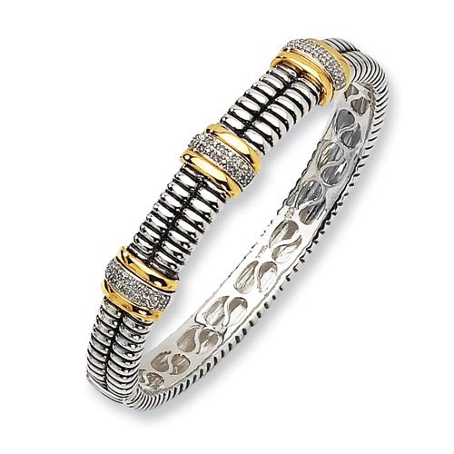 Sterling Silver/14ky Diamond Bangle Bracelet. Price: $439.56