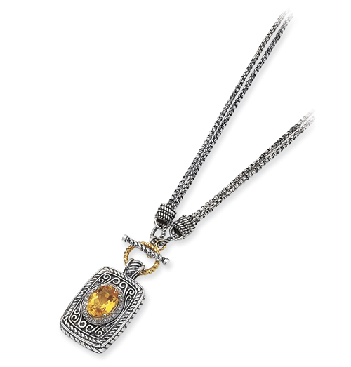 Sterling Silver/14ky Diamond and Citrine 17in Pendant Necklace. Price: $377.22