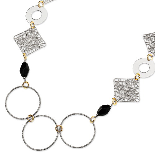 Sterling Silver and 18K Yellow Gold-Plated Onyx Fancy Necklace. Price: $454.14