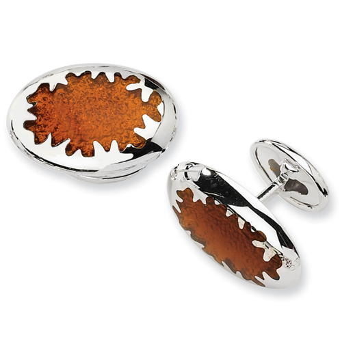 Sterling Silver Brown Resin Fancy Cuff Links. Price: $48.82