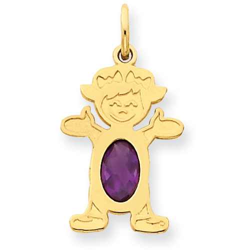 14K Girl 6x4 Oval  Genuine Amethyst-Feb. Price: $67.60