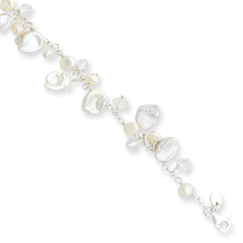 Sterling Silver White Cultured Pearl & Rock Quartz Bracelet. Price: $52.96