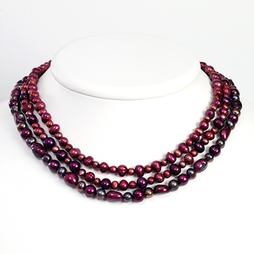 Sterling Silver Dk Purple/Grey/Purple/Red Cultured Pearl Necklace chain. Price: $67.52