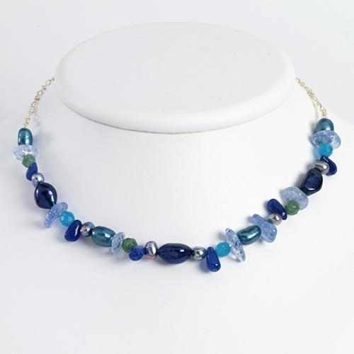 Sterling Silver Aventurine/B.Quartz/Blue & Grey Cultured Pearl Necklace chain. Price: $58.56