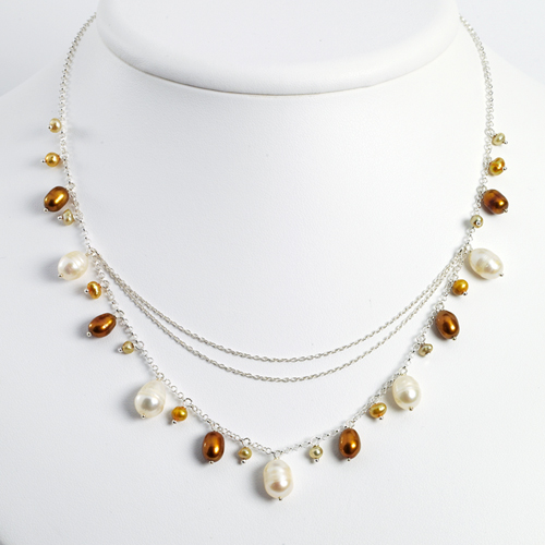 Sterling Silver Champagne/Golden/White Cultured Pearl Necklace chain. Price: $46.06