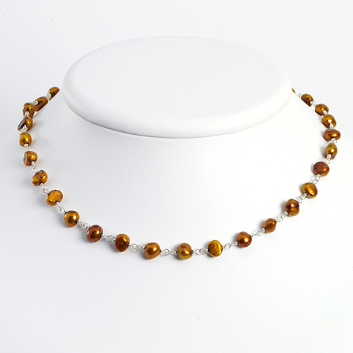 Sterling Silver Golden Cultured Pearl Necklace chain. Price: $39.99