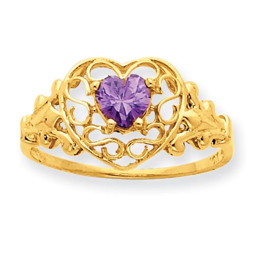 10k Polished Geniune Amethyst Birthstone Ring. Price: $150.88