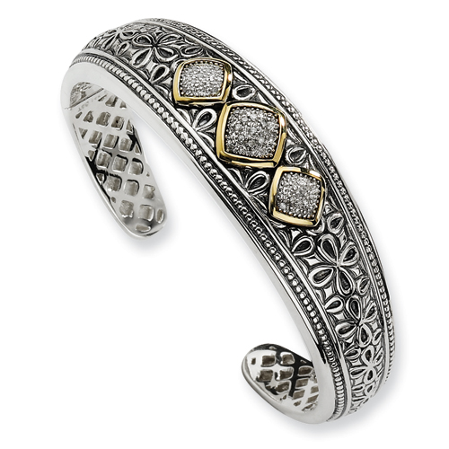Sterling Silver w/14ky Diamond Side-Hinged Bangle Bracelet. Price: $378.98