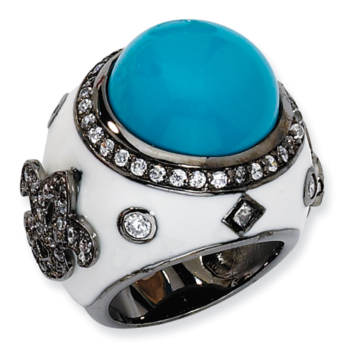 Black-plated Sterling Silver Enamel Simulated Turquoise & CZ Ring. Price: $157.34