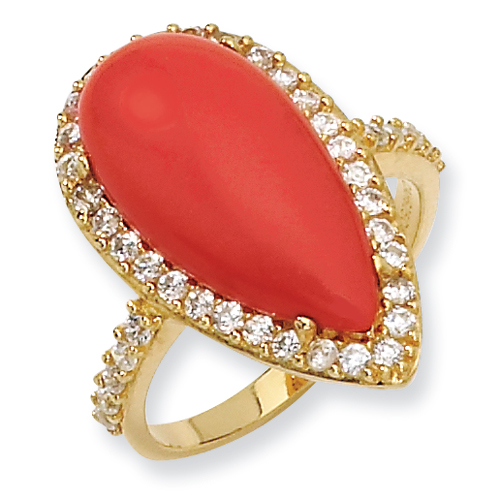 Gold-plated Sterling Silver Simulated Red Coral & CZ Ring. Price: $56.34