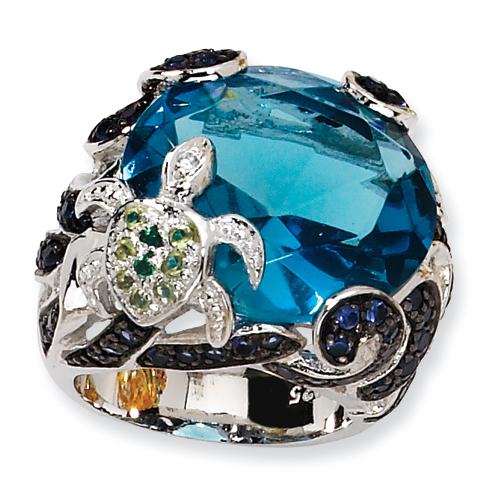 Sterling Silver CZ & Simulated Blue Topaz Turtle Ring. Price: $153.10