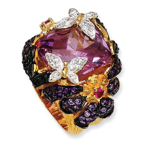 Gold-plated Sterling Silver Synthetic Ruby & Multi CZ Butterfly Ring. Price: $163.84