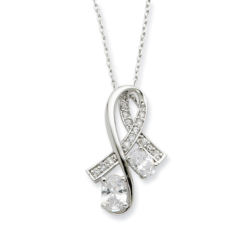 Sterling Silver CZ Note Of Praise 18in Necklace. Price: $58.20