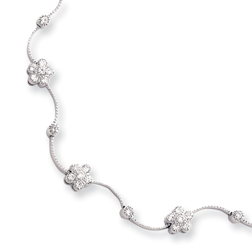 16in Rhodium-plated CZ Flower Wave Necklace chain. Price: $58.80