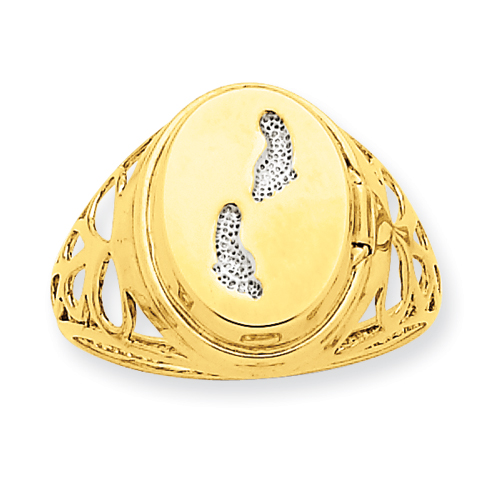 14K 13mm Rhodium Footprints Locket Ring. Price: $231.78