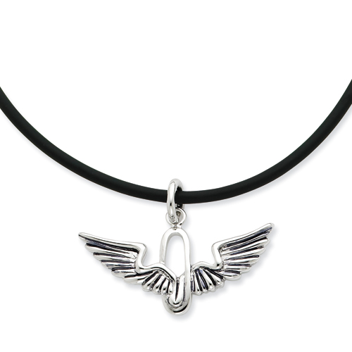 Sterling Silver Antiqued Renewed Strength 22in Rubber Cord w/2in ext Neckla. Price: $74.66