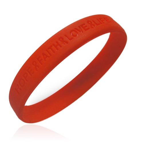 "Official Aids ""Hope Faith Love Life"" Red Awareness Wristband. Price: $4.95"