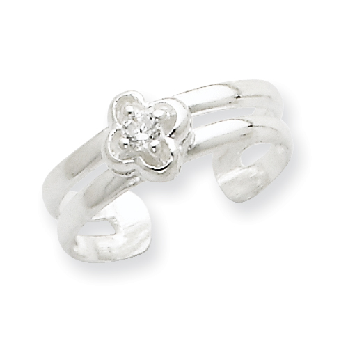 Sterling Silver CZ Floral Toe Ring. Price: $15.15