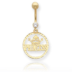 14K Gold CZ Princess Belly Dangle. Price: $116.38