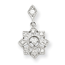 14K  White Gold Vintage Diamond Pendant. Price: $211.40