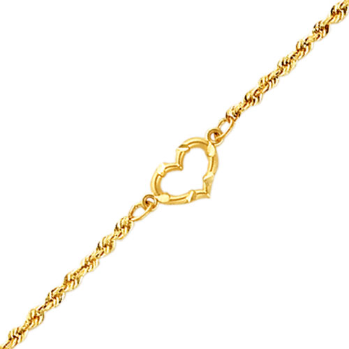 """14K Yellow Gold Cut-Out Heart Rope Chain Anklet 10"""". Price: $148.18"""