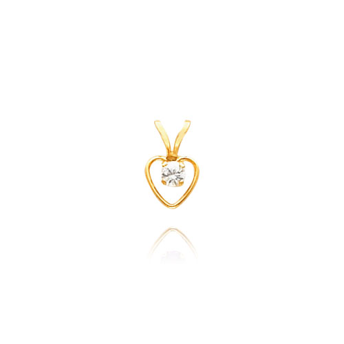 14K Gold 3mm White Zircon Heart Birthstone Necklace. Price: $60.90
