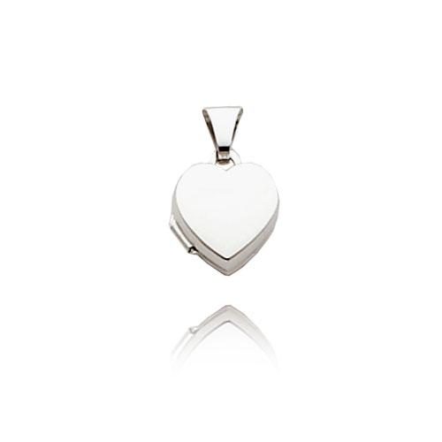 14K White Gold Tiny Polished Heart-Shaped Locket. Price: $88.36