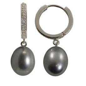 Sterling Silver 9-9.5mm Freshwater Pearl & Diamond Circle Earrings. Price: $234.00