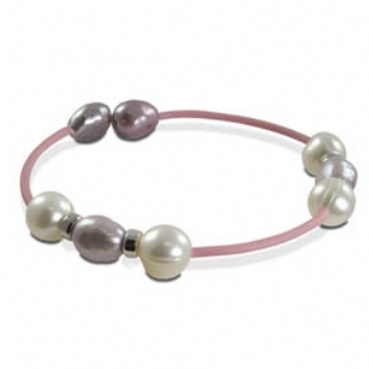 White & Dyed Lavender Freshwater Pearl & Sterling Silver Rubber Bracelet . Price: $20.00