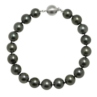 "14K White Gold 7.5"" ""AA"" Quality Pearl 9-10mm Natural Color Tahitian Bracelet . Price: $4883.25"