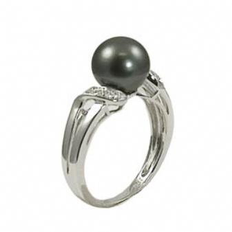 14K White Gold 9-10mm Tahitian Pearl & Diamond Ring. Price: $1266.00