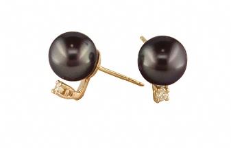 14K Yellow Gold 9-10mm Tahitian Pearl & 0.20cttw Diamond Earrings. Price: $1216.00