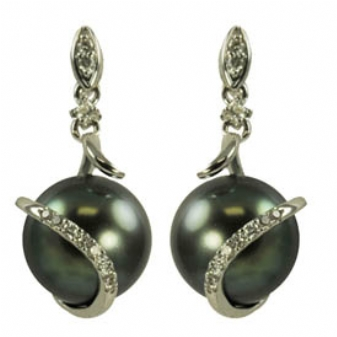 14K White Gold 9-9.5mm Tahitian Pearl & Diamond Earrings. Price: $1352.22