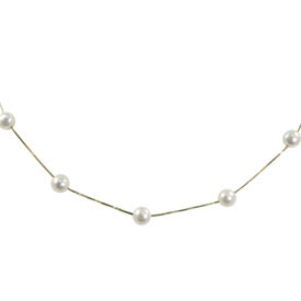 "14K Freshwater Pearl Station Pearl Necklace & 2'' Extender 13"" Bracelet. Price: $234.00"
