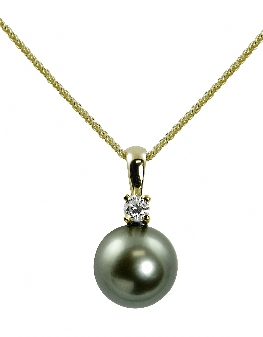 "14K Yellow Gold 10-11mm Tahitian Pearl & .15cttw Diamond Pendant 18"" Necklace. Price: $1324.00"