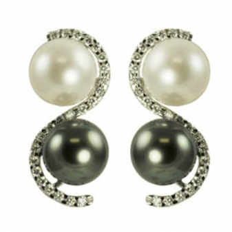 14K White Gold 9-9.5mm White Freshwater Pearl, Tahitian Pearl & Diamond Earrings. Price: $2641.80