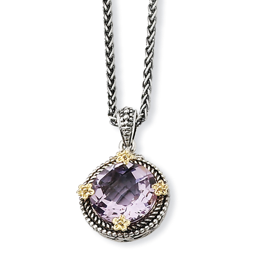 Sterling Silver w/14k 5.00Pink Amethyst 18in Necklace. Price: $176.72