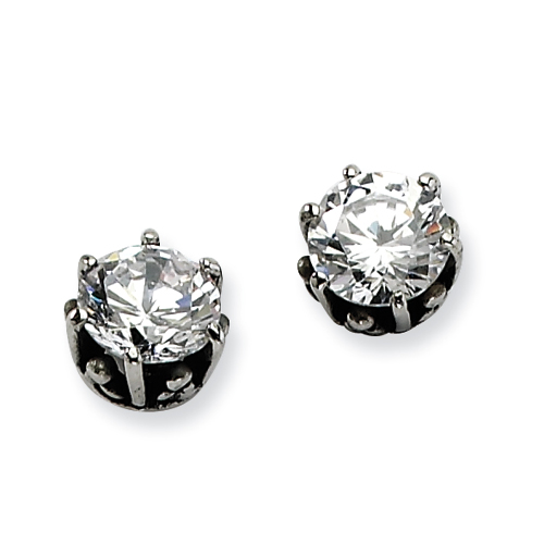 Stainless Steel Antiqued Round CZ Post Earrings. Price: $16.60