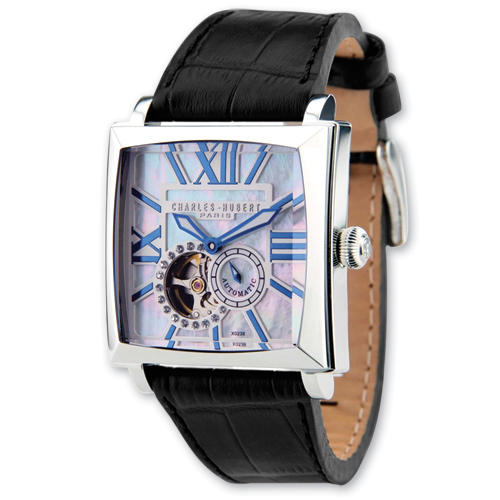 Mens Charles Hubert Black Leather Automatic Watch. Price: $291.48