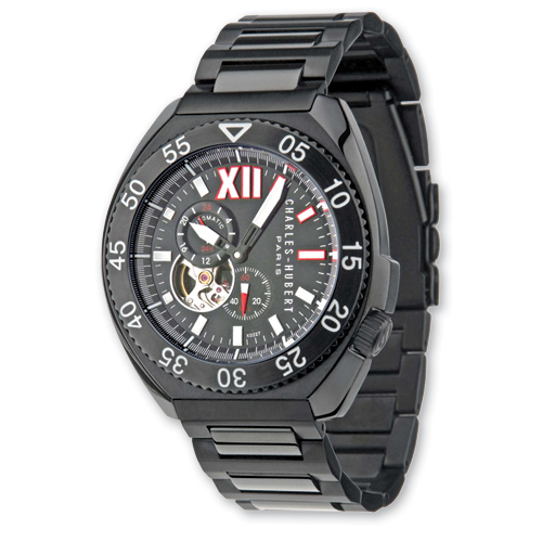 Mens Charles Hubert Black-plated Stainless Black Bezel Watch. Price: $354.26