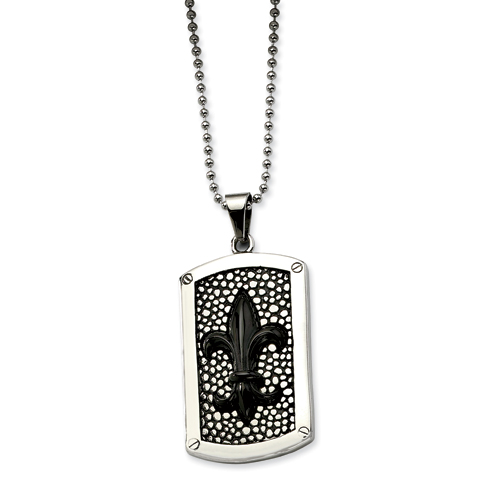 Stainless Steel Black IP Plated Fleur de lis Dog Tag Pendant chain. Price: $41.60