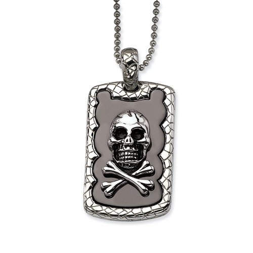 Stainless Steel Skull & Crossbones IP Black Plated Dog Tag Pendant 24 in. N chain. Price: $52.50