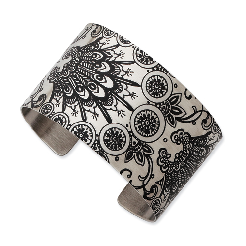 Stainless Steel Wildflower Brushed Cuff Bangle. Price: $48.94